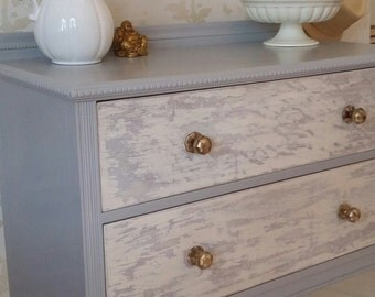 Solid Wood Light Grey and Brass Distressed Chest of Drawers Shabby Chic Elegant Bedroom Furniture Dresser Vintage