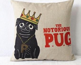 Pug Pillow, Dog Pillow, Pillow Case, Pug, Pug Picture, Dog