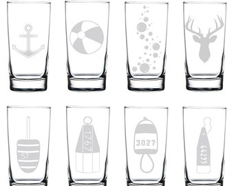 Etched Beverage Glasses (Set of 4) | 12.5oz Beverage Glass | Highball Glass | Juice Glass | Water Glass | Etched Glassware | Maine Made