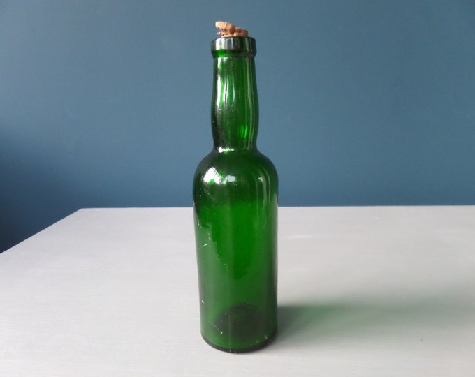 "Emerald Green Glass Bottle, Victorian Antique Circa 1900, Two Part Mold Glass Apothecary Bottle, Chemists Bottle, Cork Stopper, 6.5"" x 2"""