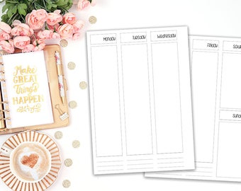 A5 Wo2P printable planner insert - Filofax A5 - Kikki K Large - print at home - planner refill - Erin Condren Style - weekly agenda