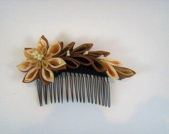 Hair comb, Golden Flower, Woman Comb, Bridal Golden Comb, Ladies Flower Comb, Wedding Hair Comb, Golden Flower Comb