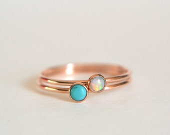Set of Two 14k ROSE Gold Turquoise Ring, 14k Rose Gold Opal Ring, Turquoise Ring Rose Gold, Pink Gold, Stacking Ring, Stackable Ring