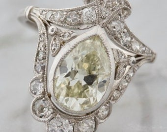 SOLD! Antique Pear Cut Diamond Engagement Ring | Lucy