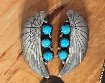 Sterling Handmade Turquoise Navajo Earrings