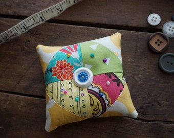 Fabric Quilted Pincushion in Yellow, Aqua, Lime, Mint, Pink vintage look prints with Vintage Button Trim, Sewing Gift, Seamstress Gift