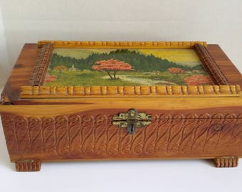 Cedar box, vintage box, painted box, antique box, wood box, carved box, medium wood box, carved wood box, decorative box