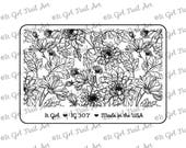 """IG307 Nail Art """"Mini"""" Stamping Plate - floral, dahlia, daisy, leaf"""