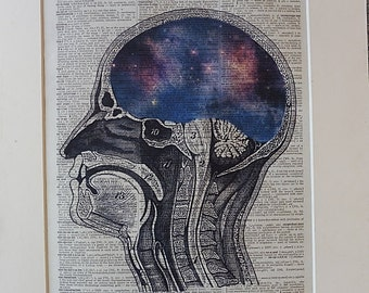 Brain Print No.407, anatomy art, anatomy decor, anatomy poster, medical decal, girlfriend gift, boyfriend gift, solar
