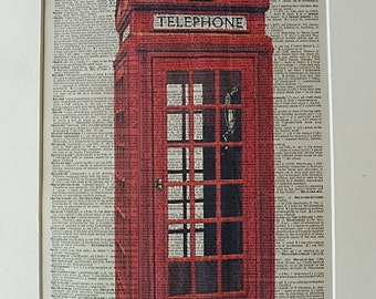 British Print No.411, british decor, british poster, great britain, phone box, telephone booth, red box, british party, red phone box