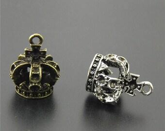 30pcs Antique Silver/Bronze Crown Charms Pendant A2241/A2242