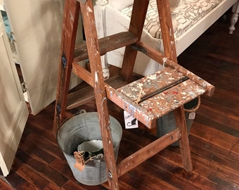 Vintage Step Ladder Rustic Ladder Plant Ladder Photography Prop