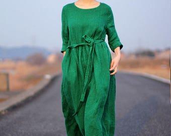 Green dress spring linen dress 3/4 sleeve linen maxi dress long pleated dress linen tunic loose caftan handmade dress plus size clothing
