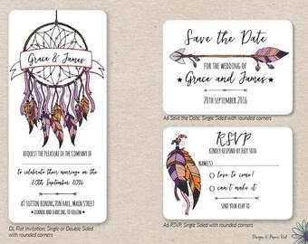 Dreamcatcher and Feather Invitation Set