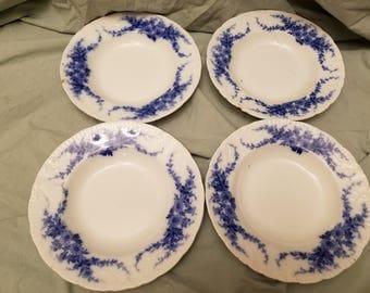 "Lot of 4 Burgess Leigh Burslem Daisy Flow blue rimmed Soup bowls 9"" Chipped."
