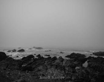 Foggy Beach in Black and White