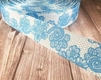 Blue lace look ribbon - Wedding - Fancy printed ribbon - Wedding grosgrain ribbon - Vintage look - Popular wedding ribbon - 3 or 5 yards