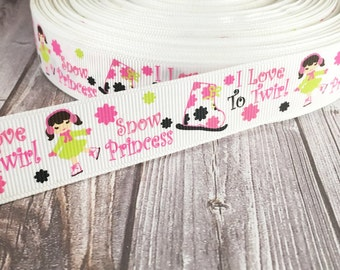 "Ice skating ribbon - 7/8"" Ribbon - Snow princess - Love to skate - Winter ribbon - Hair bow ribbon - Winter wonderland - I love snow"