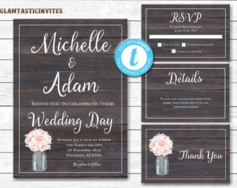 Rustic Wedding Invitation Template, Country Wedding Invitation, Digital file, Printable, wedding invitation suite, INSTANT DOWNLOAD, DIY