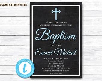 Baptism Invitation Boy, Baptism Invitation Printable, Boy Baptism Invitation, Printable Baptism Invitation, YOU EDIT, Baptism Template