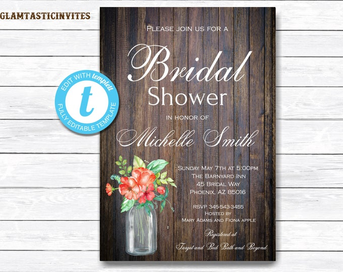 Rustic Bridal Shower Invitation, Rustic Invitation, Mason Jar invitation, Flower Invitation, Bridal Shower Invitation, INSTANT DOWNLOAD