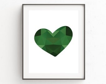 Green Abstract Art Prints, Love Heart, Geometric Wall Art, Love Print, Heart Print, Love Heart Poster, Love Print, Digital Download, Art