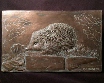 Hedgehog wall sculpture, cold cast bronze animal ornament, garden sculpture, animal art gift, woodland animal art, hedgehog picture