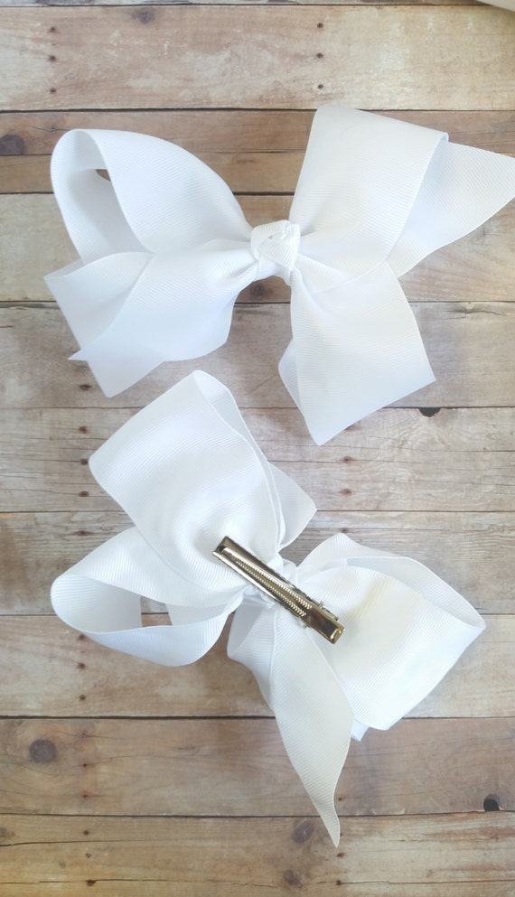 Large Hair Bow, White Big Bow, French Clip, Overzise Bow, 6 Inch Hair Bow, Big Bows For Girls, Ribbon Bow, Bows For Toddlers, Girls Bows