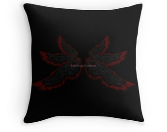 Black Red Archangel Wings Throw Pillow, Pillow Case and Insert, Multiple Sizes Available! - Supernatural, Lucifer