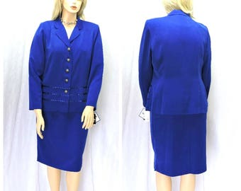 Royal Blue Dress Suit  L XL NWT 90s stunning blue skirt suit office / career dress size 14 / 16 Leslie Faye dress SunnyBohoVintage