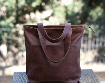 Leather tote with pockets,italian leather womens shoulder bag,market bag,tote with zipper,shopper bag,crossbody bag, womens leatherbag