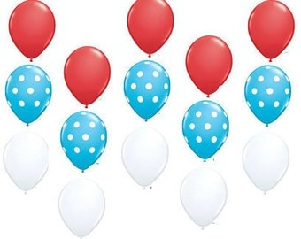 15 pc Cat in the Hat / Dr Seuss Birthday Balloon Bouquet