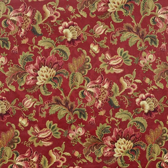 Decorator Fabric By The Yard Red Gold Jacobean Print 100%