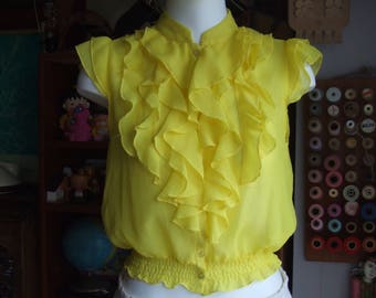Vintage Delicate Semi Sheer  Blouse. Very Bright Yellow. Sleeveless. Very Feminine. Pre Loved. Size S.