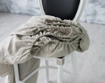 """100% Flax Fitted Sheet Deep pocket 10"""" 14"""" 18"""" 22"""" Organic Fitted Sheet Linen Bedding Twin Twin XL Queen King CalKing Full Double siezs"""