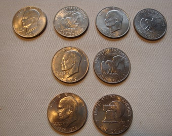 Coins - Eisenhower Dollars, total of 3 dollars