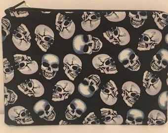 January sale Skull print fabric coin purse