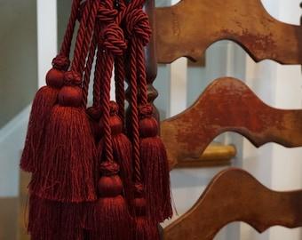Burgundy Tassles/8 sets/ Curtain Tie-Backs/ Curtain Tassles/ Silk Cord