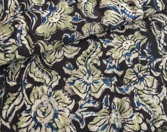 Indian Block Print, Pure Cotton, Indian Fabric, Floral jaal, Charcoal black, beige, Indigo print,  By the Yard, Light weight ,floral fabric