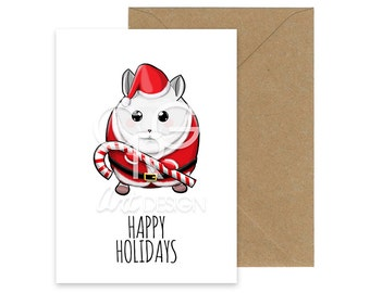 Happy Holidays - Christmas Hamster Greeting Card with Envelope