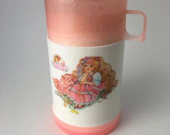 Vintage Lovely Lady Locks thermos, Lovely Lady Locks, 80s cartoon thermos, child thermos, 80s kid thermos, Lovely Lady Locks thermos