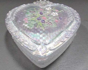 Fenton Heart Shaped Opalescent Box