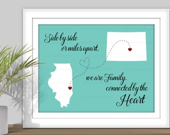State Map Art, Side by side or miles apart, we are connected by the Heart - PRINTABLE. Digital State Art. Countries Map Art