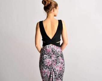 MARINA open back top in classic black - sizes XS/S/M