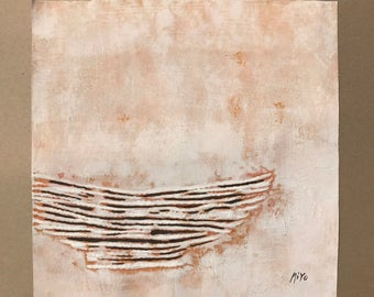 Original Oil Painting - Hanji Pottery (Shallow Bowl) Korean Traditional Paper Wall Art Modern Simple Oriental Ceramics Drawing 30x30