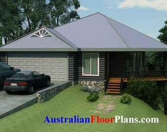 134 m2 | 3 bedroom Pole Home | 3 Bedrooms on stumps plans |  3 Bedroom Pole Home plans | Home plans for Pole Home  |  Pole Home floor plans