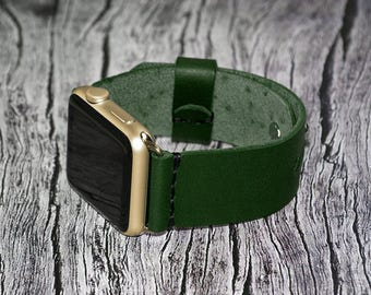 Green Apple watch strap leather // apple watch band 42mm leather - iwatch strap - iwatch band 38mm - lugs adapter accessories for women