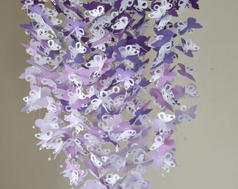 Purple butterfly mobile. Butterfly Crib Mobile: Butterfly Mobile. Purple Ombre. White. Butterfly. Baby shower. Baby nursery. Nursery decor.
