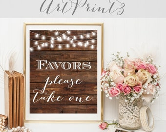 Favors Please Take One Wedding Sign Printable, Rustic Wedding Favors Sign Printable, Wood Favors Sign, Favor Table Sign, Bridal Shower Sign