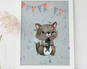 Kitten With Fish Print, Cat Nursery Wall Art, Cute Baby Animal, Kitten Nursery Decor, Domestic Animal, Kitten Cat Nursery Print, Cat Poster